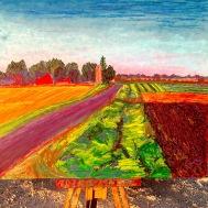 "In progress, Kingston Farmscape, 20"" x 24"", oil pastel on panel, October 19th, 2015"