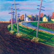"""Genoa Curve,16"""" x 16"""", oil pastel on panel, October 19th, 2015"""