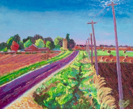 "Kingston Farmscape, 20"" x 24"", oil pastel on panel, November 1st 2015"